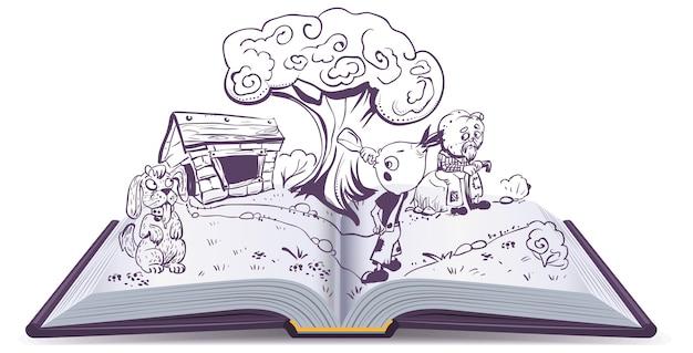 Открытая книга рассказа сказки чиполлино. луковый мальчик пьет воду возле дома крестного отца тыквы. изолированные на белом иллюстрации шаржа