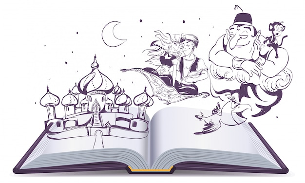 Open book story tale magic lamp aladdin. arab tales alladin, genie and princess