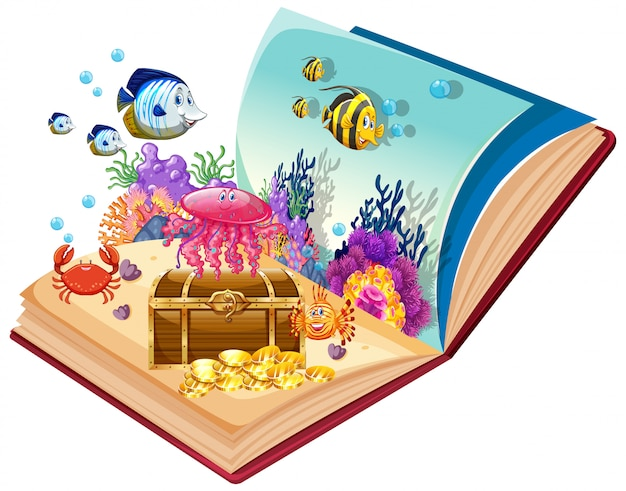 Open book underwater theme
