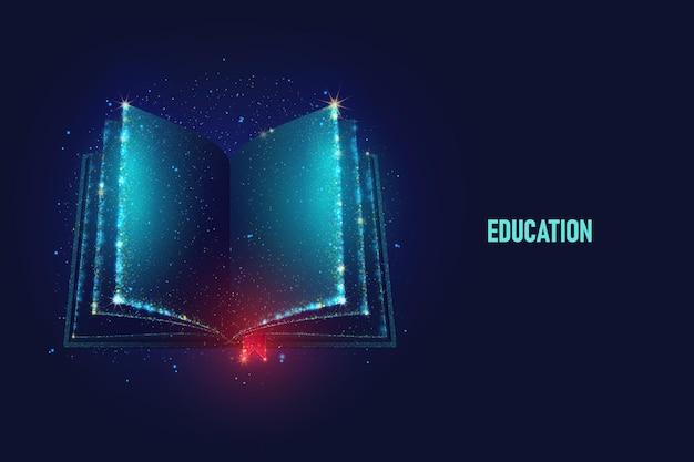 네온 입자로 만든 펼친 책 벡터 일러스트 밝은 마법의 책 예술