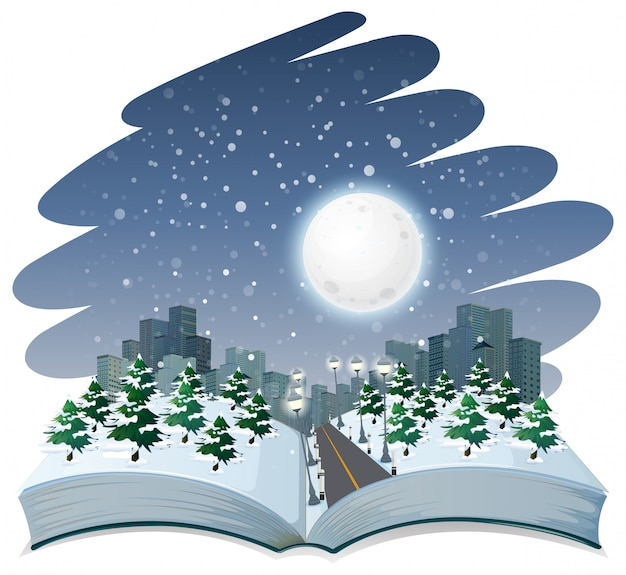 Open book winter night theme