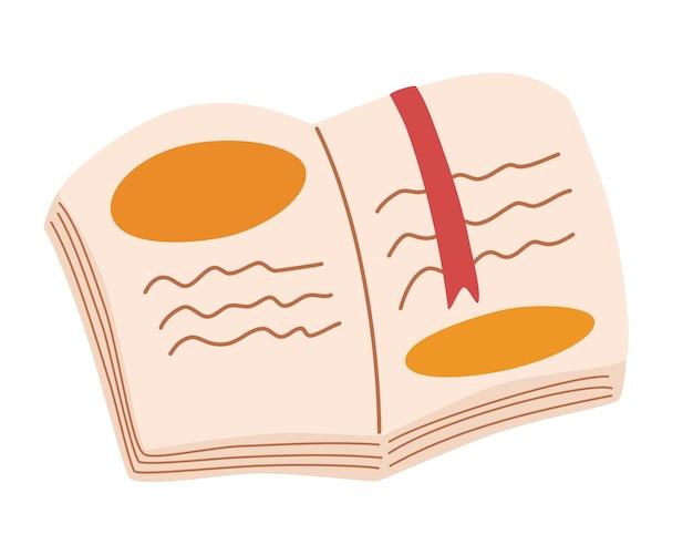 책갈피가 있는 책을 엽니다. 어린이 교육을 위한 컨셉 디자인. 책축제.