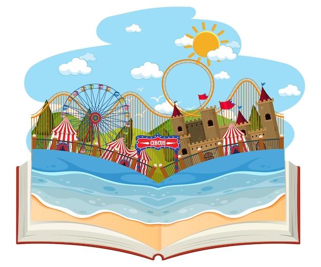 놀이 공원 장면이 있는 펼친 책