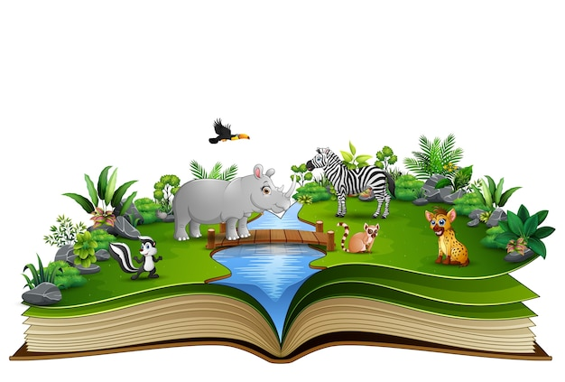 Open book with the animal cartoon playing in the river