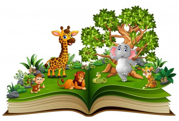 Open book with animal cartoon