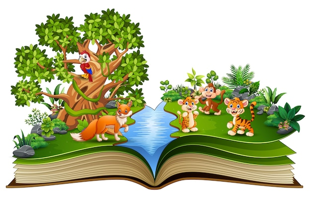 Open book with animal cartoon