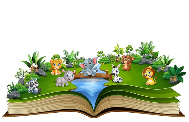 Open book with baby animal cartoon playing in the river