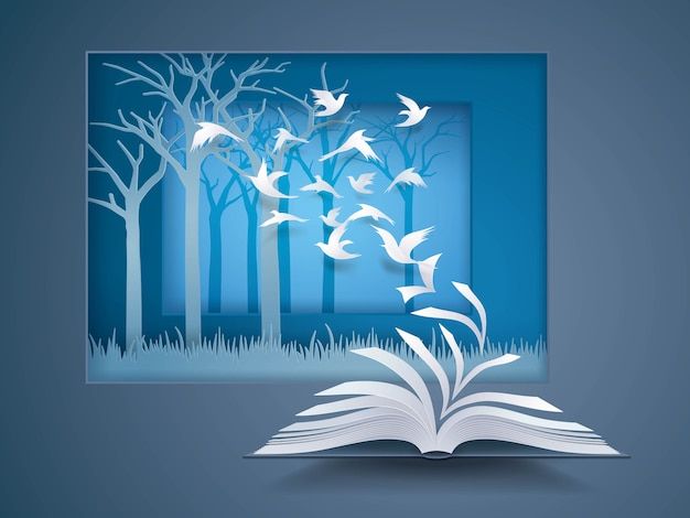 Open book with bird flying from it, paper pages change to birds fly into the forest