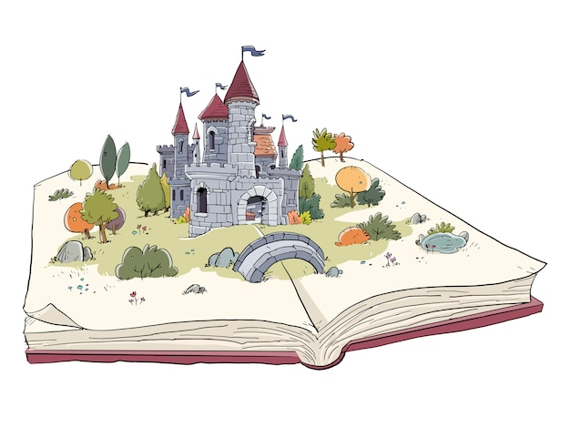 Open book with castle