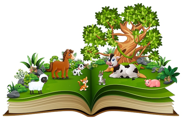 Open book with farm animal cartoon