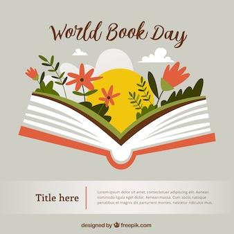 빈티지 스타일의 꽃과 함께 펼친 책