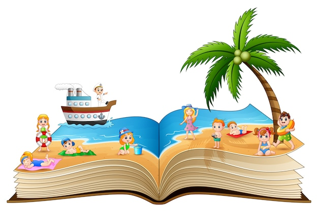 Open book with group of happy children on the beach