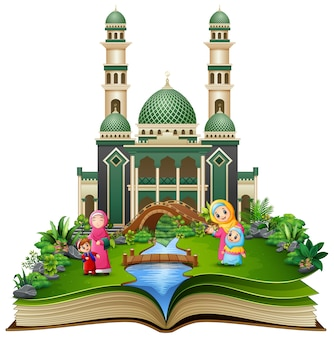 Open book with group of happy muslim family