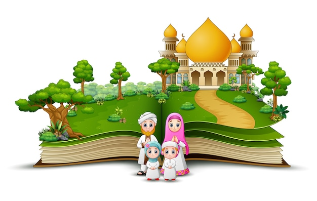 Open book with a group of muslim people