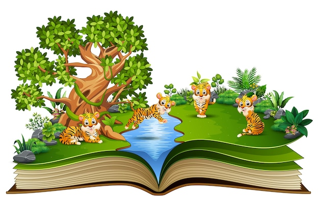 Open book with group of tiger cartoon playing in the river