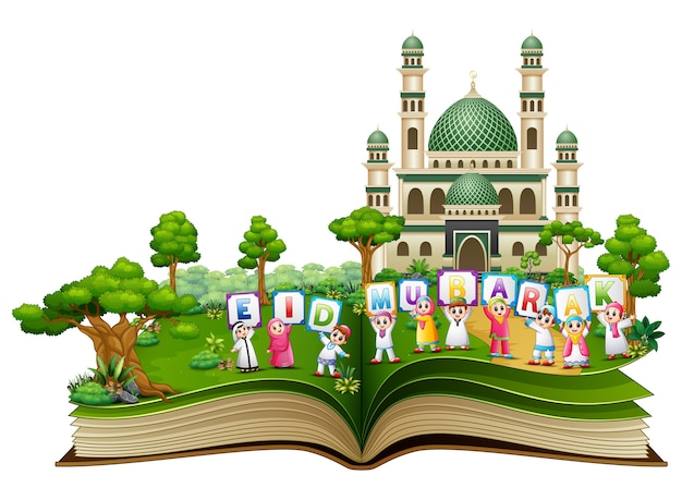 Open book with happy islamic kids and colorful text