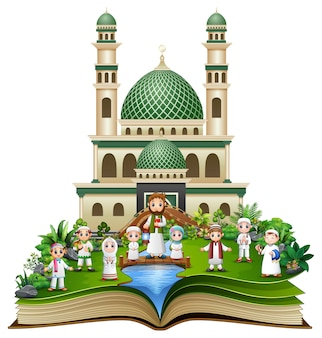 Open book with happy muslim family