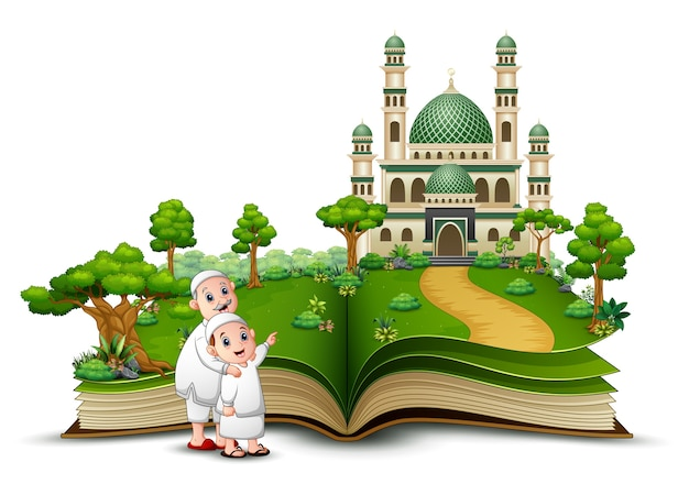 Open book with happy muslim kids