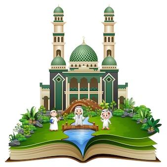 Open book with happy muslim kids