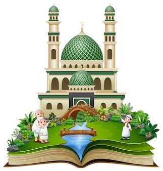 Open book with happy muslim