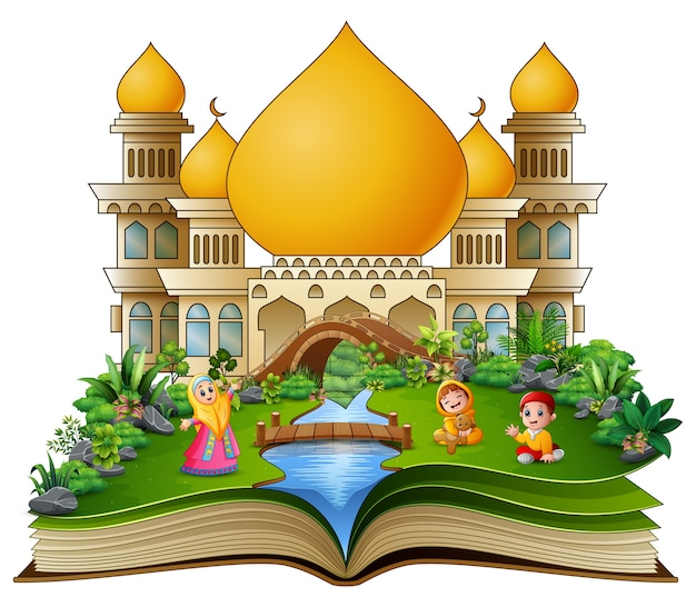 Open book with happy muslims family