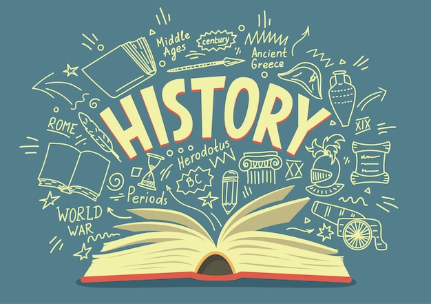 Open book with history doodles and lettering. education illustration.