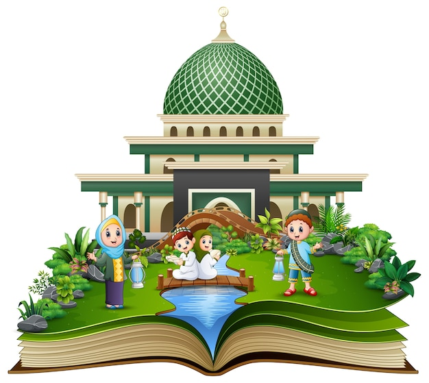 Open book with muslim family