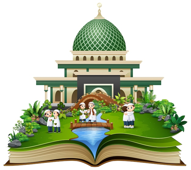 Open book with muslim people