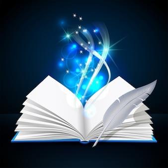 Открытая книга с мистическим ярким светом и пером