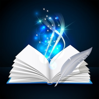 Open book with mystic bright light and feather