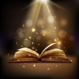 Open book with mystic bright light