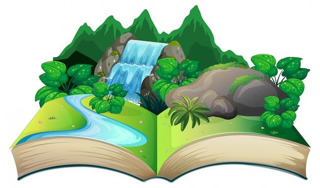 자연 풍경과 오픈 책