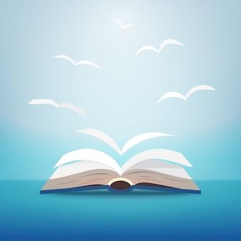 Открытая книга с полетом страницы как работа в команде птиц. воображение для образования, идеи и концепции обучения.