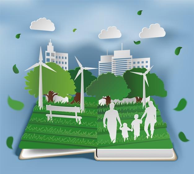공원에서 종이 아트 스타일 가족과 함께 펼친 책