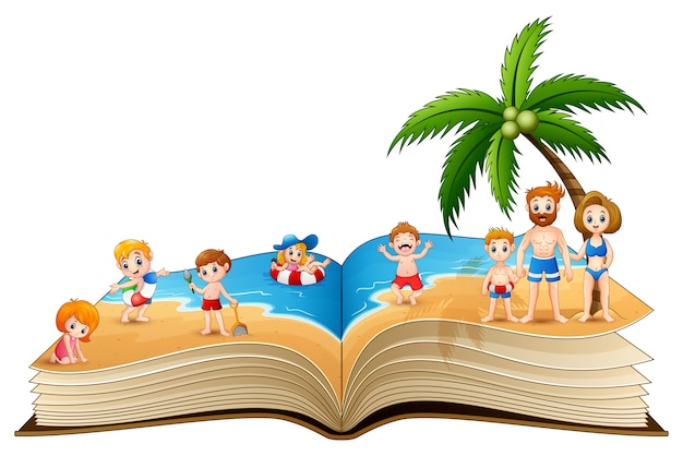 Open book with people vacation on beach