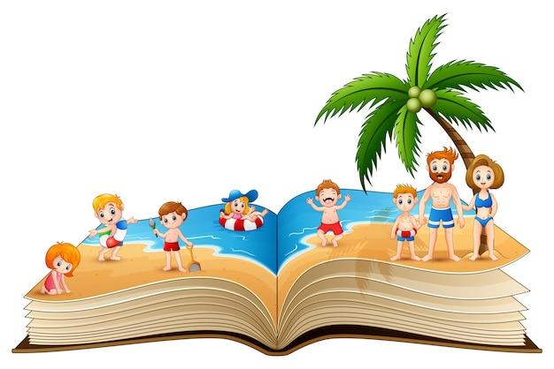 사람들이 해변에서 휴가와 책