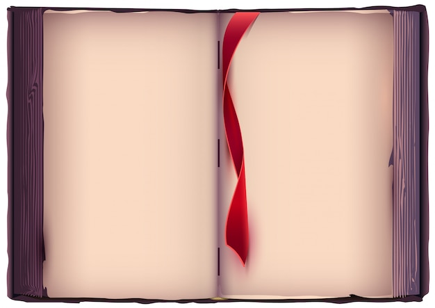 Open book with red bookmark.