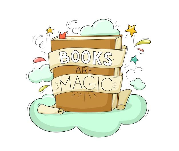 벡터 동화 요소, 아이콘 및 삽화, 책 이벤트, 축제 포스터, 표지 템플릿 디자인 세트가 있는 책 열기