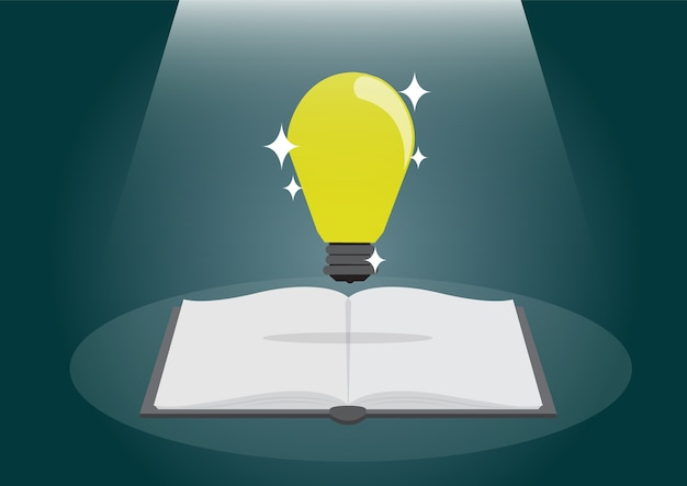Open book with shining bulb flying out.