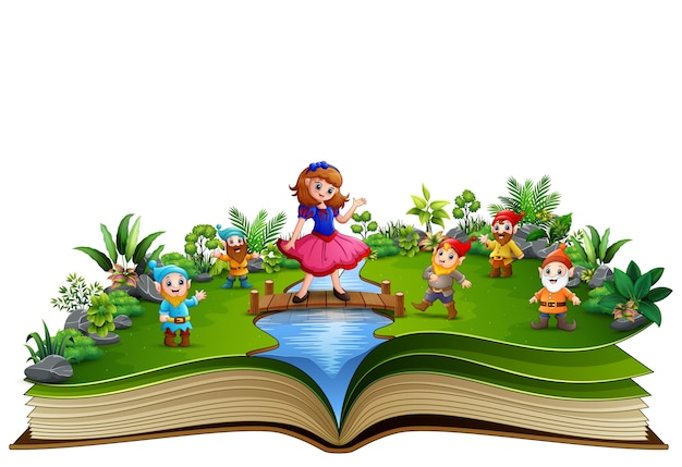 Open book with snow white and dwaft in the park