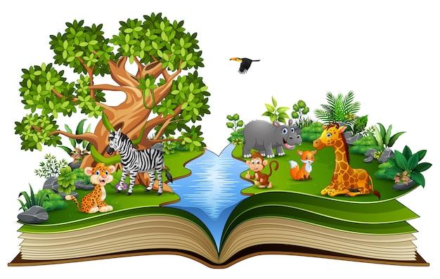 Открытая книга с мультяшным животным, играющим в реке