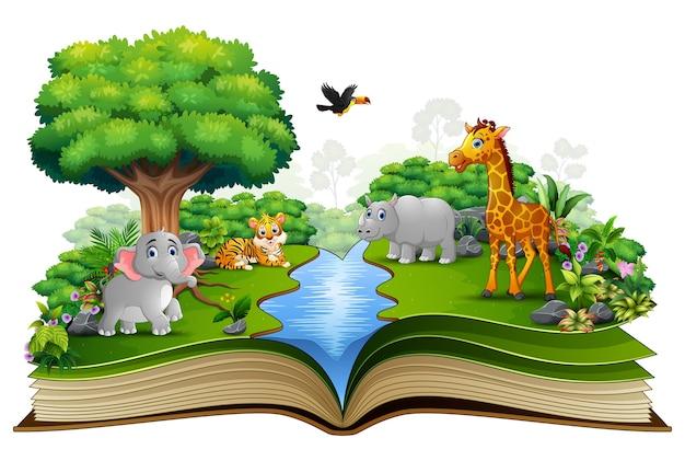 강가에서 동물 만화와 함께 펼친 책