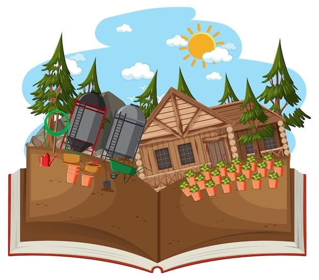 정원 장면에서 목조 주택 오픈 책