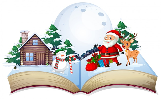 Open book xmas theme