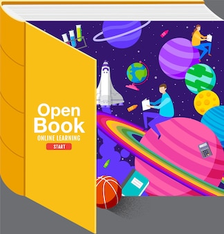 Open bookinspiration study from home back to school flat design.