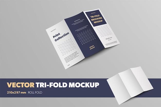 Открытая оборотная сторона шаблона буклета для презентации дизайна и печатной коллекции