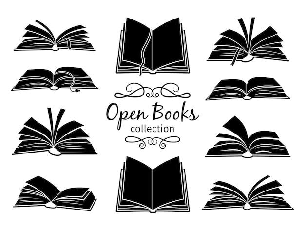 Open books black silhouettes.