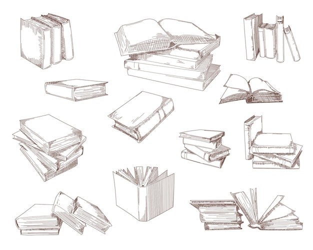 Open books, stacks, piles, notebooks sketch set