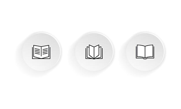 書籍のベクトルアイコンセットを開きます。孤立した白い背景の上のベクトル。 eps10。 Premiumベクター