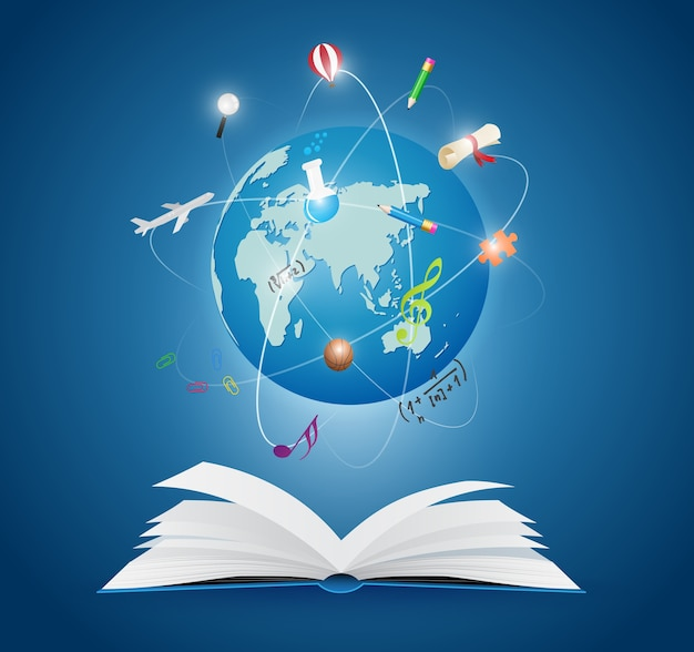 Открытые книги с научным миром